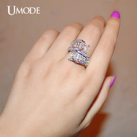 UMODE Two Big Princess Cut Cubic Zirconia Bypass Ring and Rectangle CZ White Gold Color Jewelry For Women UR0201
