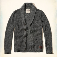Ribbed Shawl Cardigan Sweater