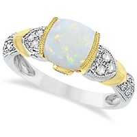 Diamond, Australian Opal, and Tanzanite Cushion Cocktail Ring For Women 14k Two-Tone Gold (1.10ct)