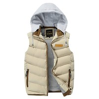 Mens Khaki Winter Puffy Vest with Removable Hood