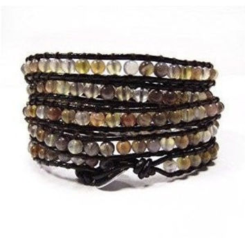 Chan Luu Style Wrap Bracelet Brown Leather and Botswana Agate