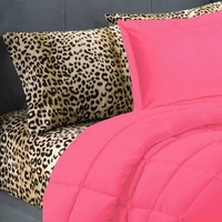 5 Piece Pink Leopard Twin Extra Long Bedding Set