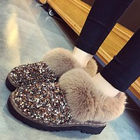 Women Warm Snow Boots Ladies Shiny Sequined Cloth Fur Plush Ankle Boots Female Fashion Flat Non-slip Casual Glitter Shoes