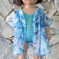 """2-piece beachwear, turquoise/green/teal/blue bathing suit with a floral chiffon beach robe/ swimming suit cover for an 18"""" doll."""