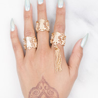 Coral Tassle Ring Set
