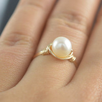 River pearl Rings,Rose gold ring,wire wrapped ring,bridesmaid rings