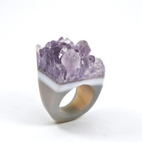 Solid agate ring, agate ring, solid druzy ring, druzy ring, stone ring, solid stone ring, amethyst ring