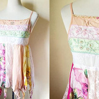 paneled tank top (small), peach and pink sleeveless blouse