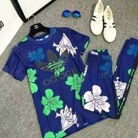 """Adidas"" Women Casual Fashion Flower Print Short Sleeve Webbing Stripe Leggings Trousers Set Two-Piece Sportswear"