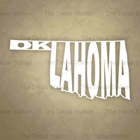 Oklahoma Vinyl Decal Sticker for Car Truck Auto. Word Art . US State Pride.