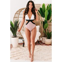 Hello Summer Side Cut-Out One-Piece Swimsuit (Pink)