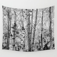 Into the forest. BN panoramic Wall Tapestry by Guido Montañés