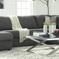 3 pc Jayceon collection steel fabric upholstered sectional sofa set with rounded arms