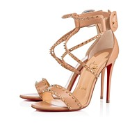Cl Christian Louboutin Choca Spikes Nude/light Gold Leather Sandals 3170560n013