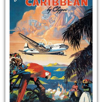 Fly to the Caribbean by Clipper - Pan American World Airways (PAA) - Vintage Airline Travel Poster by Mark Von Arenburg c.1940s - Master Art Print - 12in x 18in