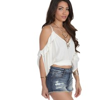 Ivory Off The Shoulders Boho Crop Top