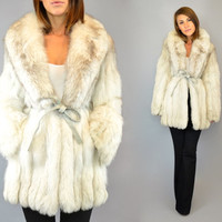 vtg 80's chubby ARCTIC FOX FUR leather wrap luxury modern coat cape jacket, extra small-medium