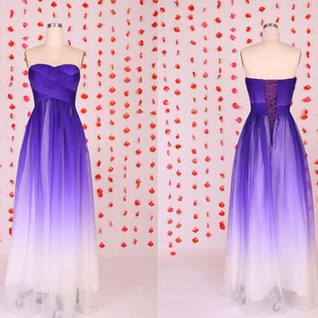 Beautiful Purple gradient chiffon prom dresses coreset back,Evening party dress,Long sweetheart chiffon bridesmaid dress,wedding party dress