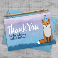 Red Fox Thank You Cards, Woodland Animal Cards, Purple Blue Mountain Cards, Printable Fox Birthday Party Thank You, Woodland Fox Notecards