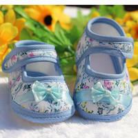 Baby Shoes First Walker 2016 Spring Infant Shoes Baby Girl Brand Floral Print Baby Girl Shoes with Headband Bow Newborn Shoes