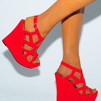 LADIES BRIGHT RED CUTOUT SUEDE WEDGES WEDGES SUMMER STRAPPY PLATFORMS HIGH HEELS