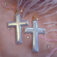 Blue Vintage Cross Earrings by imyourpresent on Etsy