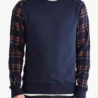 Plaid Sleeve Crew Neck Sweatshirt- Navy