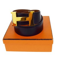 Auth HERMES Constance H Buckle Belt Leather Gold-tone Black Brown #65 68B1835