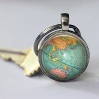 Globe Keychain World Map Planet Earth Geography Key Chain Key Fob Accessories