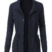 LE3NO Womens Linen Military Anorak Parka Jacket (CLEARANCE)