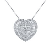 White Sterling Silver Heart Pendant Baguette Lab Diamond