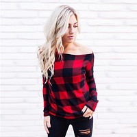 Plaid Off The Shoulder Sweater