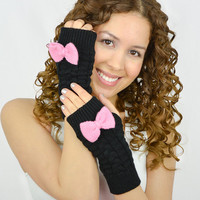 Black Fingerless Mittens knit gloves pink bow pink knit bow gloves knitted bow knit fingerless gloves black arm warmers black women gloves