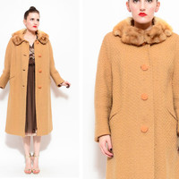 50s 60s Camel Tweed Boucle Wool Coat - Mink Fur Collar Swing 60s Winter Coat Dress Jacket - M 8 10