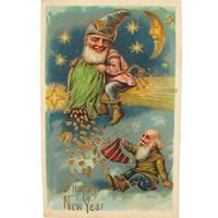 Happy New Year - Antique 1908 Postcard, Gnome Riding Comet, Pouring Good Luck Coins & Horseshoes From the Sky, Embossed Gold, Germany