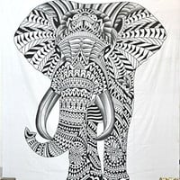 Jaipurhandloom Hippy Elephant Tapestries Psychedelic Wall Hanging Elephant Tapestry Hippie Tapestry Wall Tapestries Bohemian Tapestries Indian Tapestry Wall Hanging