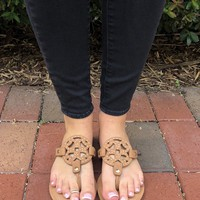 Tory Inspired Sandals - Brown/Gold