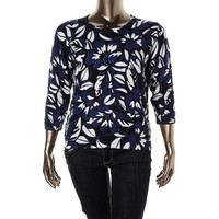 Alfred Dunner Womens Petites Printed Long Sleeves Pullover Sweater