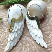 """Tribal Earrings, """"Golden Wings"""" Natural, Bone, Brass Tops Sterling Silver Posts, Hand Carved"""