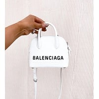 Balenciaga VILLE TOP HANDLE Mini graffiti logo calfskin bag
