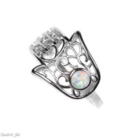 Sterling Silver Openwork Filigree Hamsa White Opal Ring