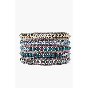 Chan Luu Pyrite Turquoise Mix Wrap Bracelet On Gray Leather