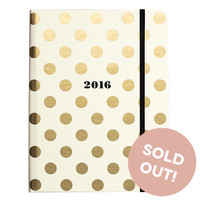 2016 kate spade new york Medium Agenda - Gold Dots
