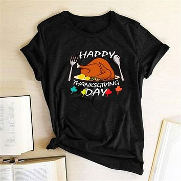 Happy Thanksgiving Day Printed T-shirts Women Summer 2020 Graphic Tees Aesthetic Vogue T Shirt Casual Harajuku Tops for Teens