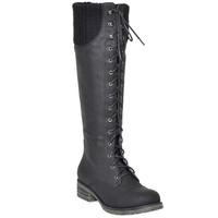 Womens Knee High Boots Knitted Calf and Lace Up Zipper Closure Comfort Shoes Black