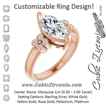 Cubic Zirconia Engagement Ring- The Heidi Grethe (Customizable 9-stone Design with Marquise Cut Center and Complementary Quad Bezel-Accent Sets)