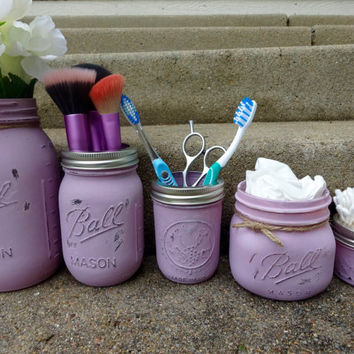 Mason Jar Bathroom Kit. Lilac. Set of 5. Ball Mason Jars. Painted Jars. Toothbrush Holder. Farmhouse Bathroom Decor. Rustic Decor.