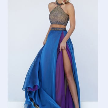 Embellished Crop Bodice Sherri Hill Formal Prom Gown 50042