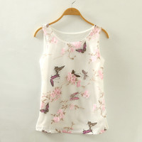 New Summer Fashion Organza Butterfly and Flower Pattern Print Crop Tops Grenadine Sleeveless Casual Vest = 4765309828
