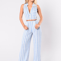 Hitch A Ride Jumpsuit - Light Blue